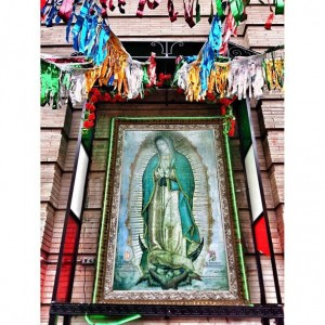 A Virgin of Guadalupe altar outside of St. Jerome's Church on 138th St. Once an Irish parish, the majority of parishioners are now Mexican.