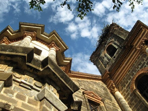 A church in Granada, Nicaragua with blue sky